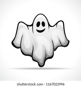 Vector illustration of ghost on white background
