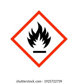 Vector illustration GHS hazard pictogram - flammable , hazard warning sign flammable icon isolated on white background