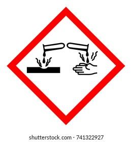 Vector illustration GHS05 hazard pictogram - corrosive , hazard warning sign corrosive substance , isolated on white background