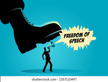 Vector illustration of a giant army boot trampling on a man, dictator, freedom of speech, authority concept