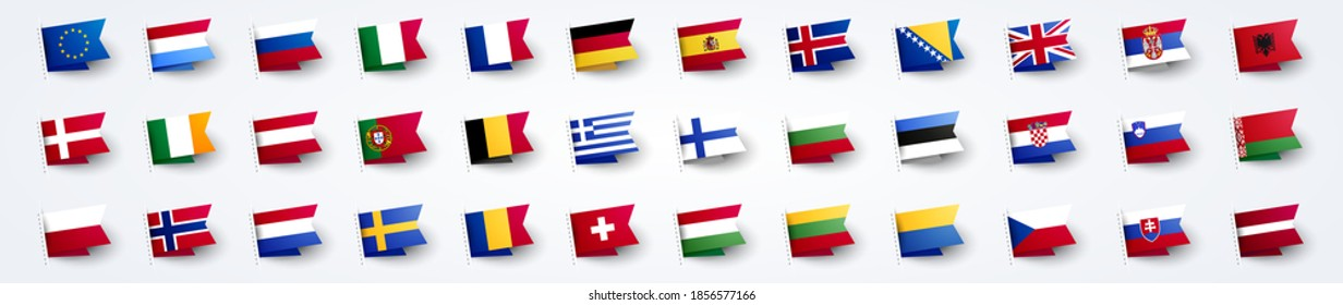 Vector Illustration Giant European Flag Set With Europe Country Flags.