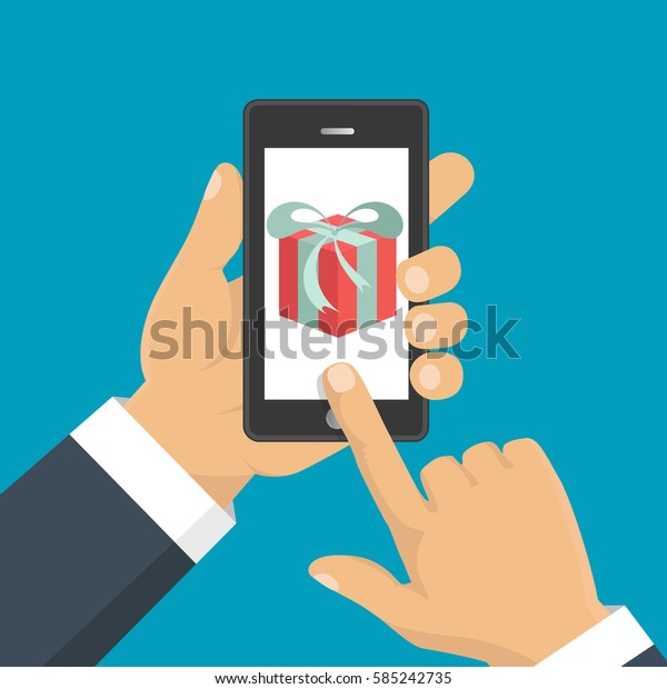 Vector illustration. Gift app page on smartphone screen. Hand hold smartphone. Mobile concept for web banners, web sites, infographics.