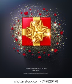 Vector illustration.Red gift box, gold bow isolated on black background with sparkles and hearts.Realistic 3d object.Element for the design of a greeting card for Valentine's Day,New Year,Christmas.