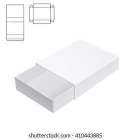 Vector Illustration of Gift craft Box for Design, Website, Background, Banner. Folding package Template. Fold pack with die line isolated for your brand on it