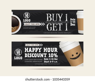 Vector illustration gift voucher coupon cafe coffee beverage, buy 1 get free, happy hour concept promotion advertising