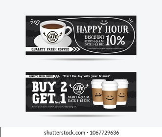 Vector illustration gift voucher coupon cafe coffee beverage, buy 2 get 1 free, happy hour concept promotion advertising