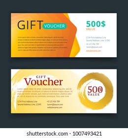 Vector illustration. Gift voucher template with gold pattern, cute gift voucher certificate coupon design template. Gift certificate
