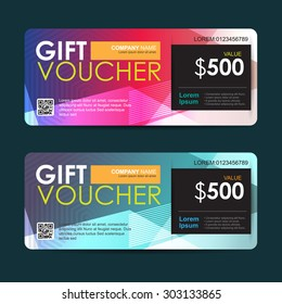 Vector illustration, Gift voucher template with abstract colorful pattern,gift voucher certificate coupon design template