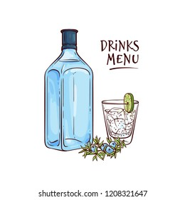 Vector illustration of gin and tonic cocktail in glass with ice and slice of lime and blue bottle with alcohol beverage and juniper berries in sketch style isolated on white background.