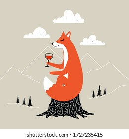 Vector illustration with ginger fox sitting on black stump with a glass of red wine. Doodle mountain landscape, rough white clouds and black pine trees on blackground. Funny print design with animal