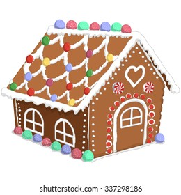 Vector illustration of a gingerbread house.