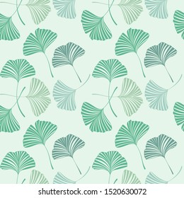Vector Illustration ginkgo biloba leaves. Seamless pattern with leaves. Nature background