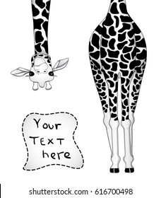 Vector illustration of giraffe in black and white colors with place for your text.