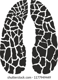 Vector illustration of a giraffe camouflage in the shape of a giraffes trace