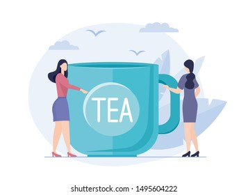 Vector illustration of girl and big cup or tea. Young Woman drinking warm cup of tea. Cartoon cute winter