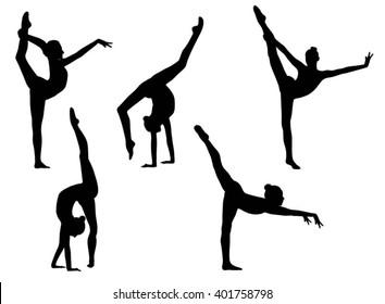 Vector illustration girl black silhouettes of gymnastics. Gymnastics, acrobatics, acrobatics, sport.