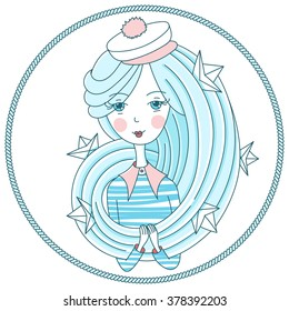 Vector illustration of girl with blue hair, paper boats and rope