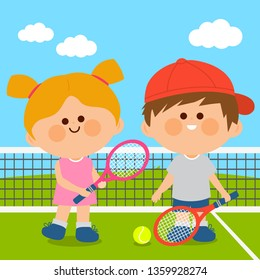 Vector illustration of a girl and a boy playing tennis.