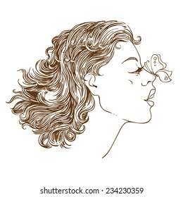 Vector  illustration of a girl with a butterfly on her nose. hand-drawn vector outline