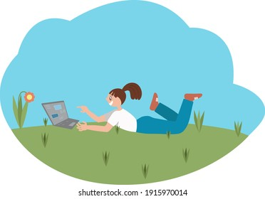 Vector illustration of a girl chatting at the park.