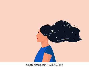 Vector illustration of a girl with closed eyes. The concept of meditation, solitude, soul seeking or mindfulness.