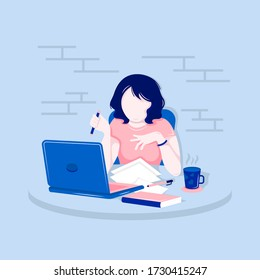 Vector illustration of a girl at the computer for your project. Work or study at home. Women's desktop.