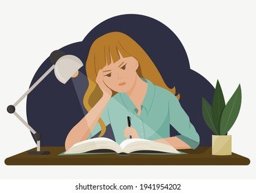 Vector illustration of a girl at a desk. A student does her homework late in the evening. The concept of hard, impossible homework. Drawing in a flat style.