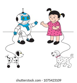 vector illustration girl with dog and robot with robot dog met on walk