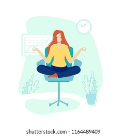 Vector illustration. Girl doing yoga and get calm in office. Relax, meditation, good time management concept. Flat style design