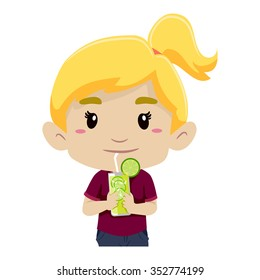 Vector Illustration of a Girl Drinking Glass of Lemonade