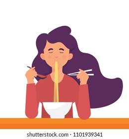 vector illustration a girl enjoying her ramen noodle with spoon and chopstick.