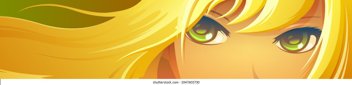 Vector illustration. Girl face with green eyes. Cartoon anime style.