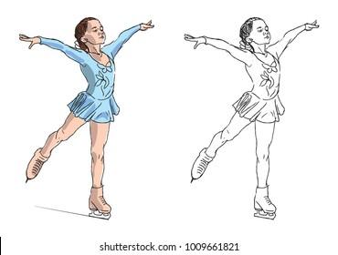 Vector illustration of girl figure skater on ice