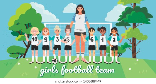 Vector illustration of a girl football or soccer team. Football field picture with children and their coach. Creative banner, flyer or landing page for a kids football team, club or championship.