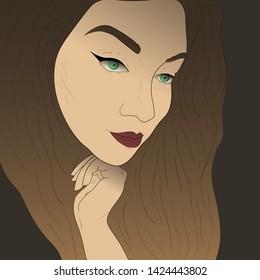Cartoon Brown Hair Brown Eyes Female Stock Illustrations Images