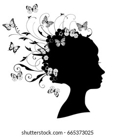 vector illustration of girl head silhouette with floral hair, swirls, flowers, butterflies.