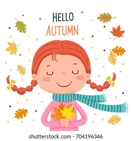 Vector illustration of girl holding autumn leaves. Hello autumn illustration