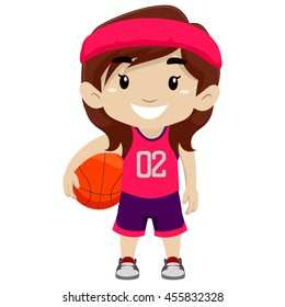 Vector Illustration of a Girl Holding Basketball