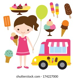 Vector illustration of a girl holding an ice cream.