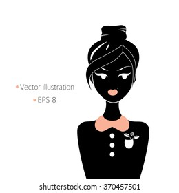 Vector illustration of girl isolated on white. Silhouette of girl on white. Girl with top knot hairstyle. Preppy style girl. Girl with a flower in pocket.