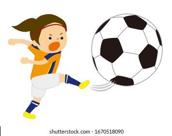 Vector illustration of girl kicking soccer ball
