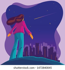 Vector illustration of a girl make a wish while looking at shooting star or star fall in the night sky. Fantasy science of meteor or asteroid entering atmosphere. Astrology or astronomy imagination.