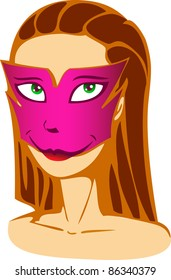 A vector illustration of a girl in a mask. . Can be recolored or scaled without problems and quality loss