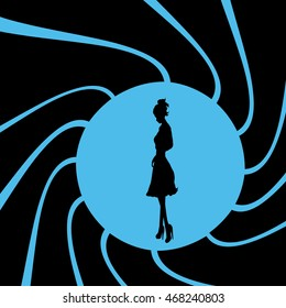 Vector illustration of girl on bond theme