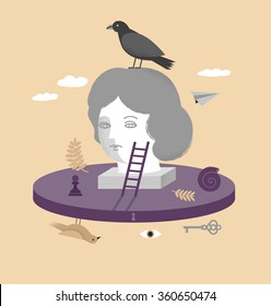 A vector illustration of a girl on psychotherapy.