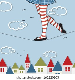 Vector illustration of a girl on a rope up in the sky - circus acrobat