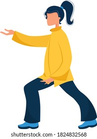 Vector illustration of a girl performs qigong and tai chi exercises