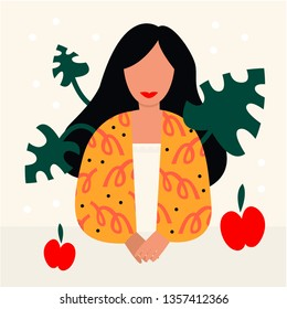 Vector illustration girl with plant. Design element for summer party concept and other use
