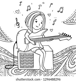 Vector illustration with girl playing guitar and  listening to the music on decorative pattern background for coloring art