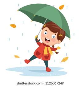 Vector Illustration Of Girl Playing Under Rain